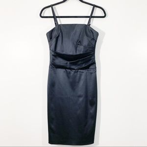 WHBM Size 2 Black Satin Ruched Removable Straps